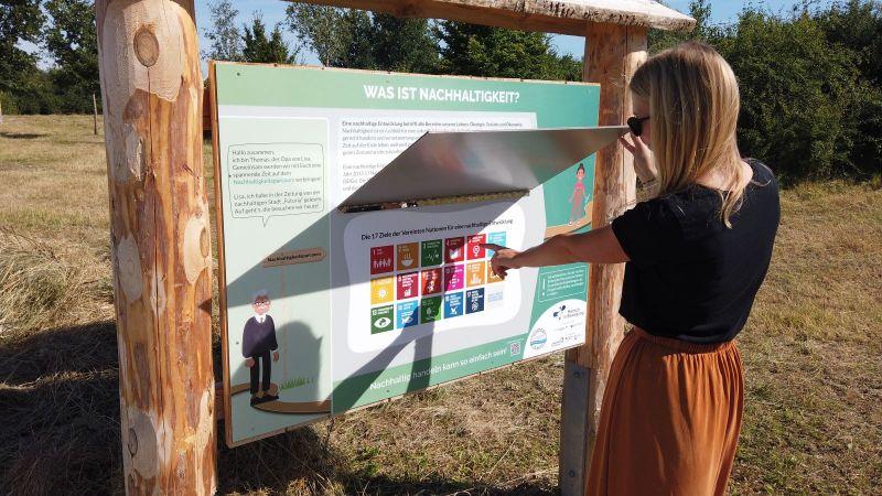 Ein Blick auf den Nachhaltigkeitsparcours des Projektes Mensch in Bewegung (Quelle: Lena Kackstätter / Linus Appel)