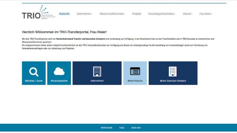 Der Login-Screen des Transferportals (Quelle: TRIO)